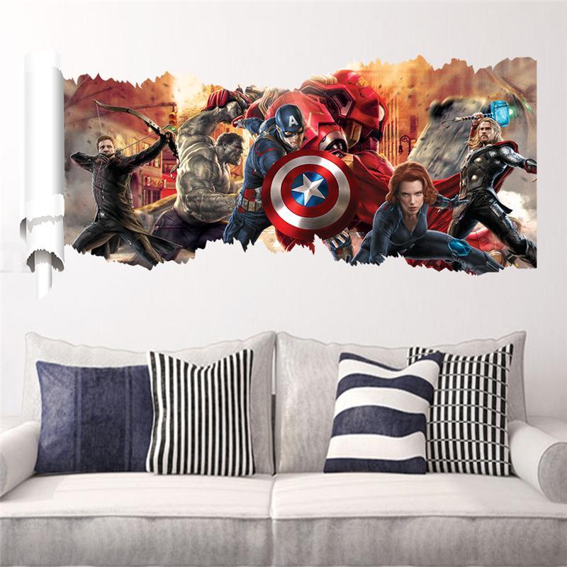 Americano capitán de la pared de habitación de los niños pegatinas de decoración del hogar 3d agujero roto Super héroe vengador poster artístico para mural niños etiqueta de la pared