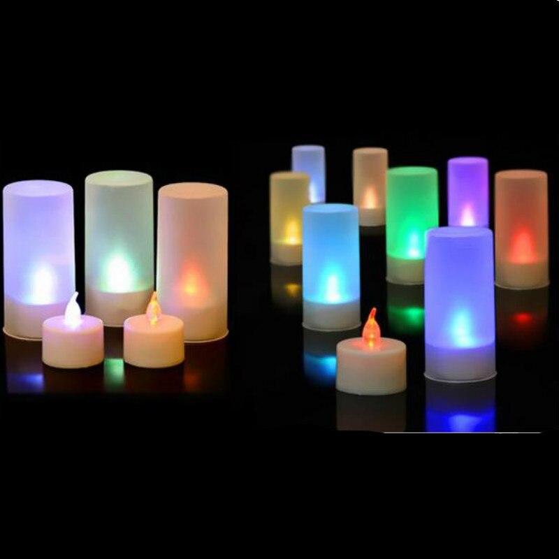 10 pçs/lote Sensor de Voz Coloridas Luzes de Velas Presente de Aniversário Noturna Levou Atmosfera Lâmpada de Cabeceira presente de Aniversário para Crianças