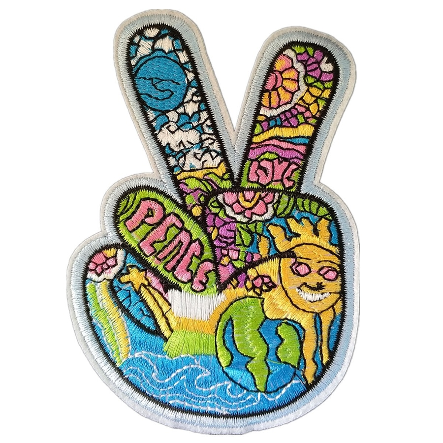 V Sign Victory Hand Hippie paz y símbolo de amor Luna y sol Arco Iris Rock Punk retro coser apliques de hierro en parche de chaleco de motociclista parche