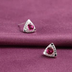 Elegant Red Blue Stone 925-sterling-silver Triangle Stud Earrings   Rhinestone Statement Earrings Evening Dress Jewelry Women