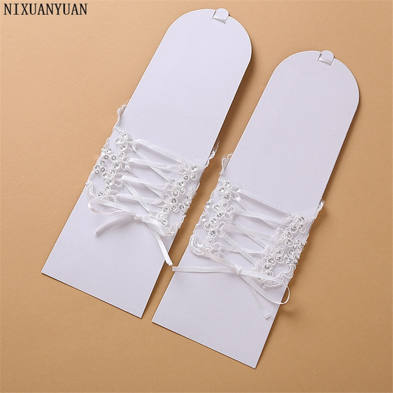 Elegáns gyöngyös csipke szatén rövid menyasszonyi kesztyű, - Esküvői tartozékok - Fénykép 3