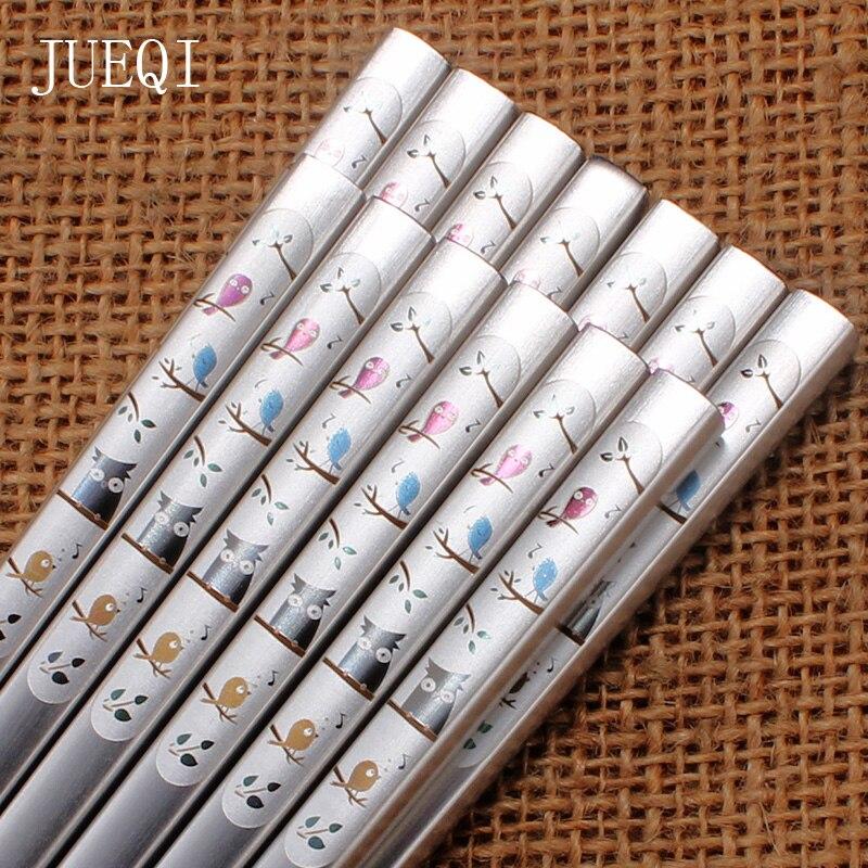 JueQi 10 pares de acero inoxidable Anti-rolling de lujo grabado láser coreano palillos huecos de comida de la fortuna vajilla