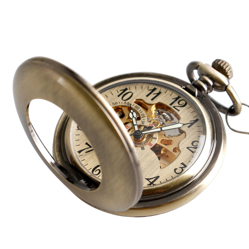 Regalo de Acción de Gracias reloj de bolsillo automático mecánico de moda Steampunk hueco Vintage exquisito colgante carcasa suave hombres mujeres Fob