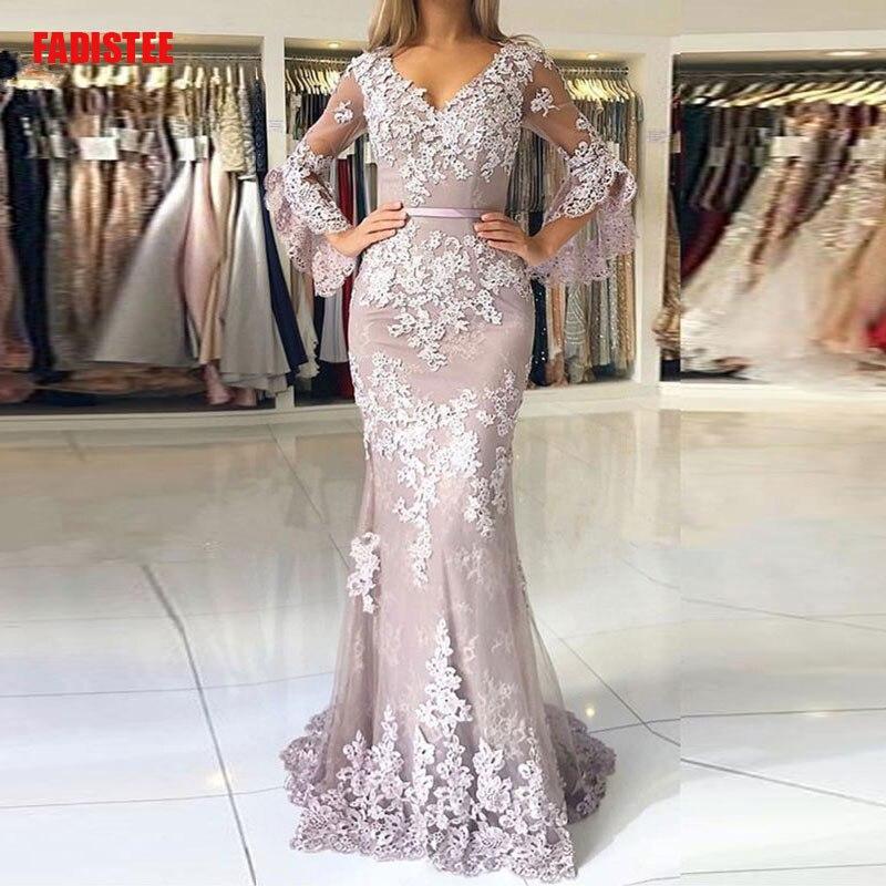 Женское вечернее платье, кружевное платье большого размера с пышными рукавами, 2019