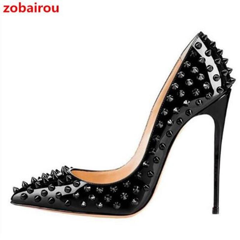 Zobairou tenis feminino 10cm 12cm tacones altos atractivos de cuero negro zapatos de punta estrecha escarpin zapatos de diseñador para mujer de lujo zapatos