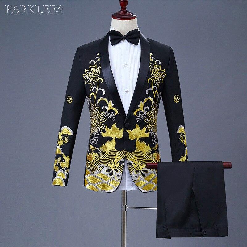 Luxus Gold Stickerei Schwarz Anzug Männer Party Hochzeit Anzüge Männer Schal Kragen Smoking Anzug (Jacke + Hosen) bühne Host Sänger Kleidung