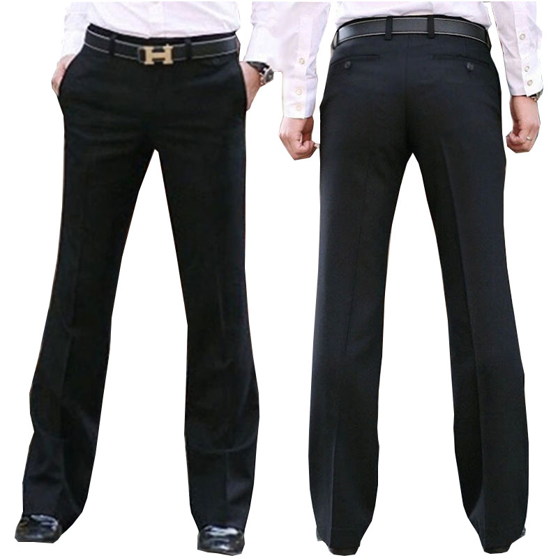 New Modis Flared pants Male Summer Straight Suit British leisure Free hot feet trousers Formal For Men Dress