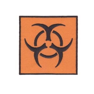 BIOHAZARD SYMBOL embroidered iron-on PATCH WHITE yellow applique WARNING SIGN new