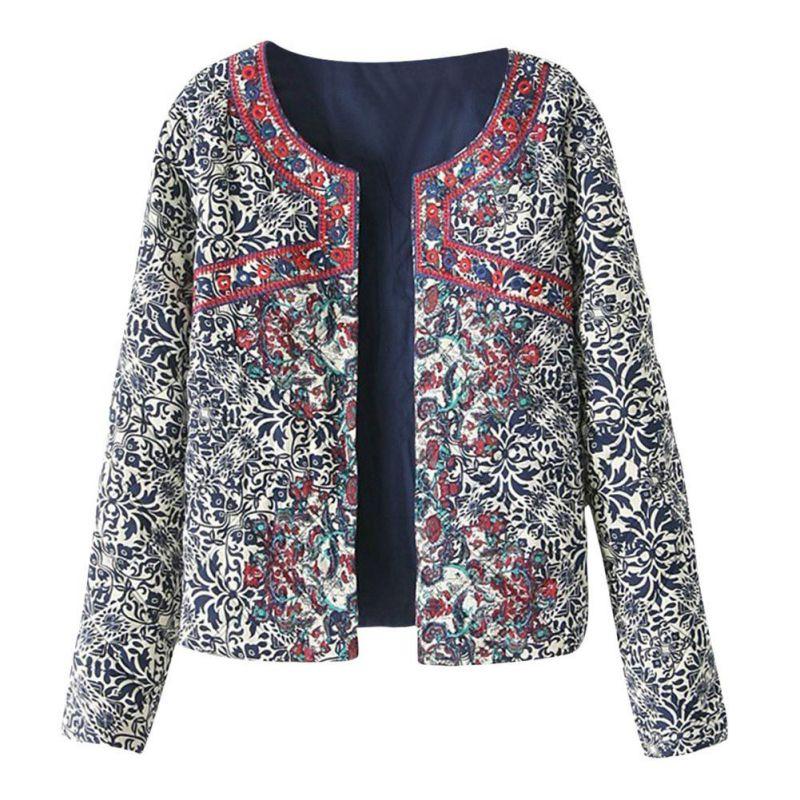 Primavera otoño Retro estampado azul blanco cuello redondo chaqueta de manga larga femenina abrigo bordado para mujeres bordado Tops delgados