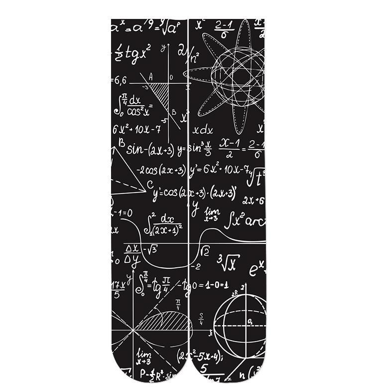Fórmula matemática 3d imprimir calcetines 2018 drop-shipping wholesale 38cm longitud