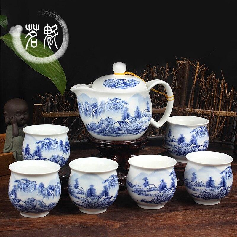 طقم شاي من السيراميك ، إبريق شاي من الخزف الأزرق والأبيض من KungFu