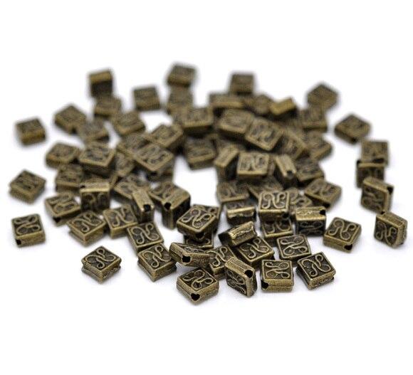 Frete Grátis 120 pcs Antique Bronze Praça Spacer Beads 5x5mm Descobertas Jóias J0312