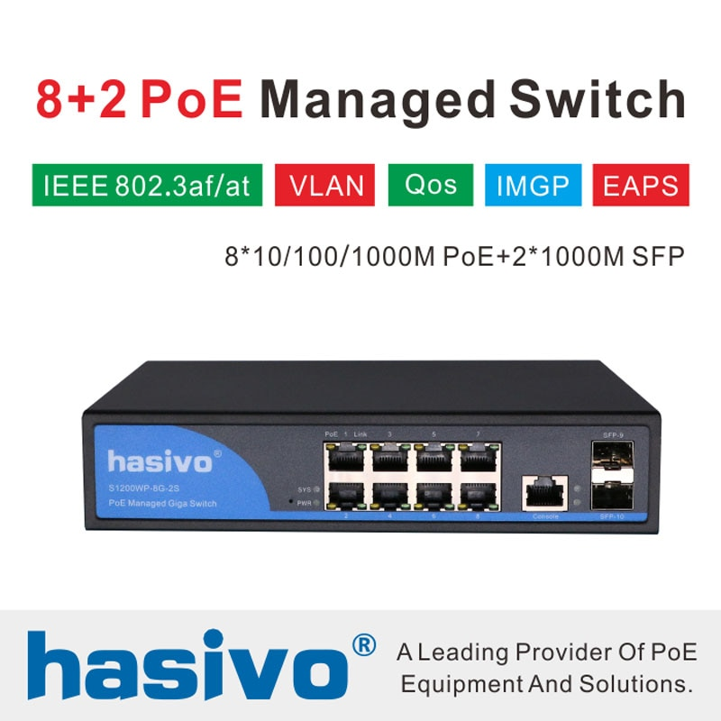 Фото - 8 Port 10/100/1000Mbps PoE Ethernet Switch Managed Switch With 2 Gigabit SFP Slots IGMP VLAN Management PoE Switch 24v 8 port gigabit managed poe switch 24v non standard poe web management switch