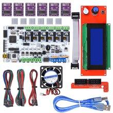 Placa de Control DIY BIQU Rumba + Pantalla de controlador LCD 2004+ cable de puente + Driver paso a paso DRV8825 para impresora 3D RepRap
