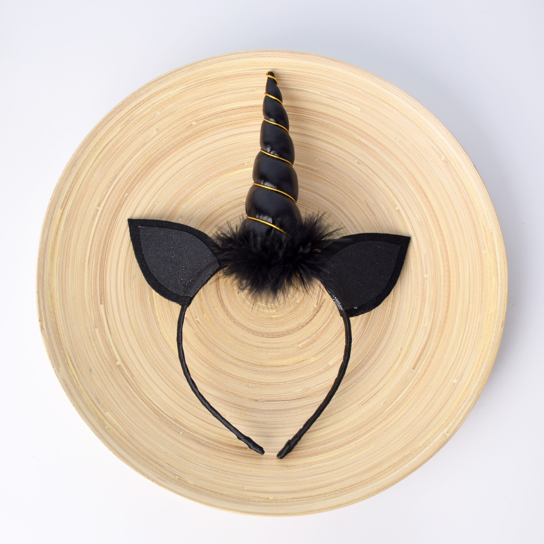Black Unicorn Headband Glitter Unicorn Horn Feather Hairband Boys Costume Girls Hair Accessories