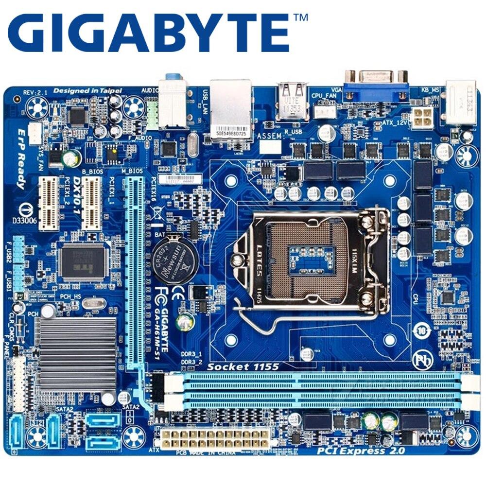 GIGABYTE GA-H61M-S1 настольная материнская плата H61 Socket LGA 1155 i3 i5 i7 DDR3 16G uATX UEFI BIOS оригинальная H61M-DS1 б/у материнская плата