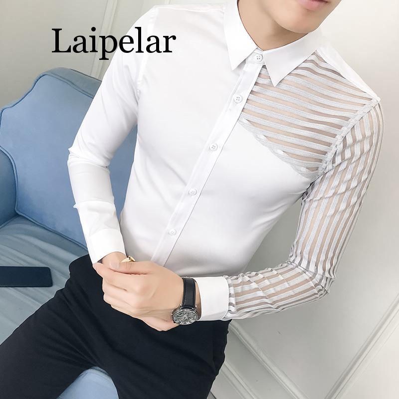 Laipelar просвечивающие Кружевные Полые мужские рубашки с длинным рукавом, мужские рубашки, повседневные облегающие рубашки для ночного клуба,...