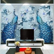 Papier peint peinture à lhuile paon bleu gaufré   De Style chinois, papier peint Mural 3D, pour le salon, la télévision, larrière-plan de lhôtel, décor classique