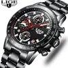 LIGE-montre de Sport à Quartz pour hommes marque supérieure de luxe entièrement en acier pour Business montre étanche décontractée