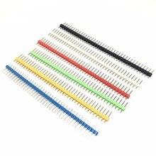 Bande de tête mâle incassable, 10 pièces, connecteur 1x40P, 2.54mm de Long, bleu, rouge, blanc, vert, jaune, 5 couleurs offre spéciale