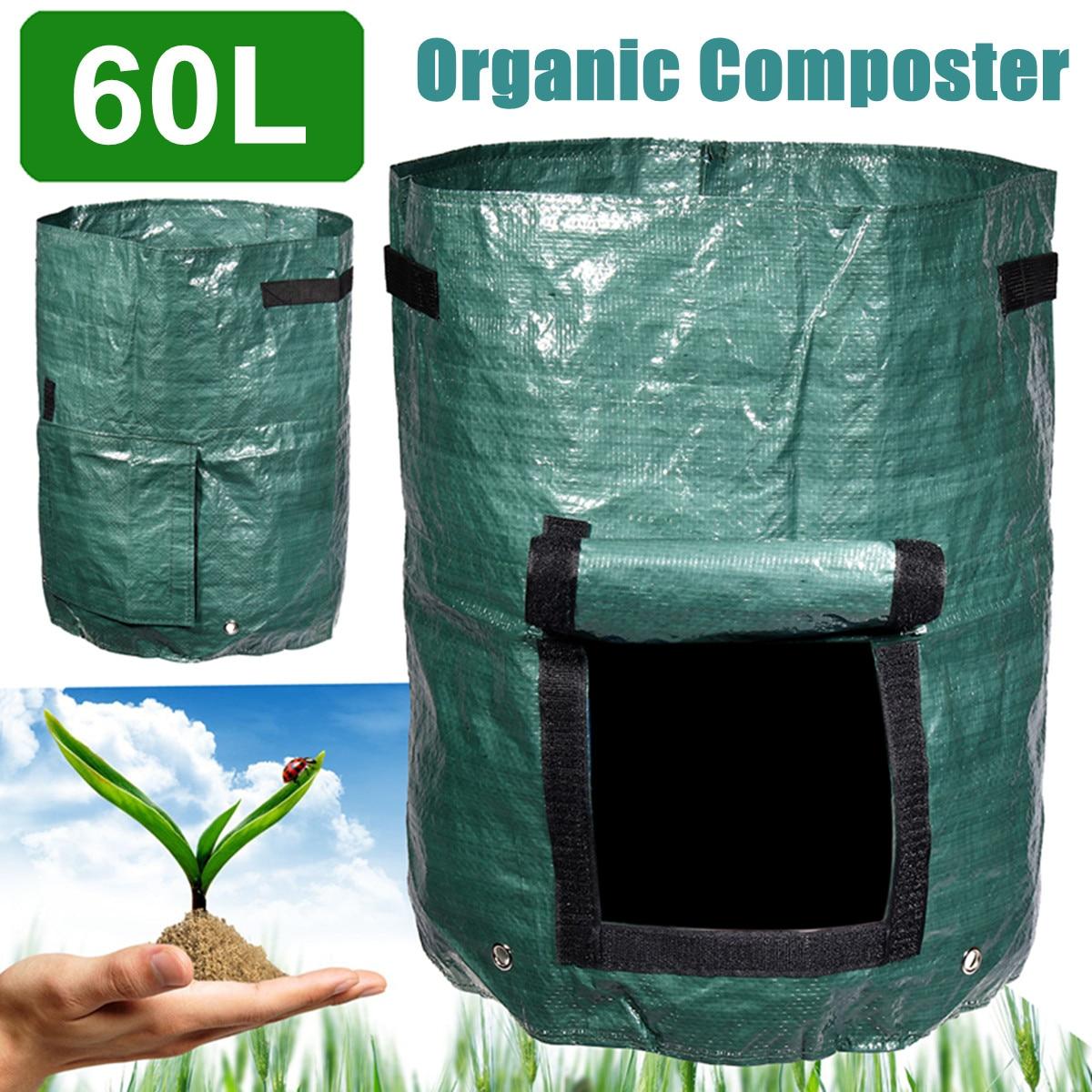Garden Composter Bin Grow Bag 60L Eco Friendly Organic Compost Storage Bag Green Waste Converter Tools Yard Garden Supplies
