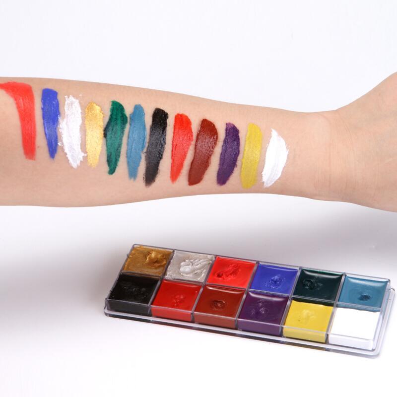 Pintura corporal Pintura de arte corporal, 12 colores, pintura al aceite de pintura corporal, maquillaje, cosmética, pintura corporal, fiesta de Halloween