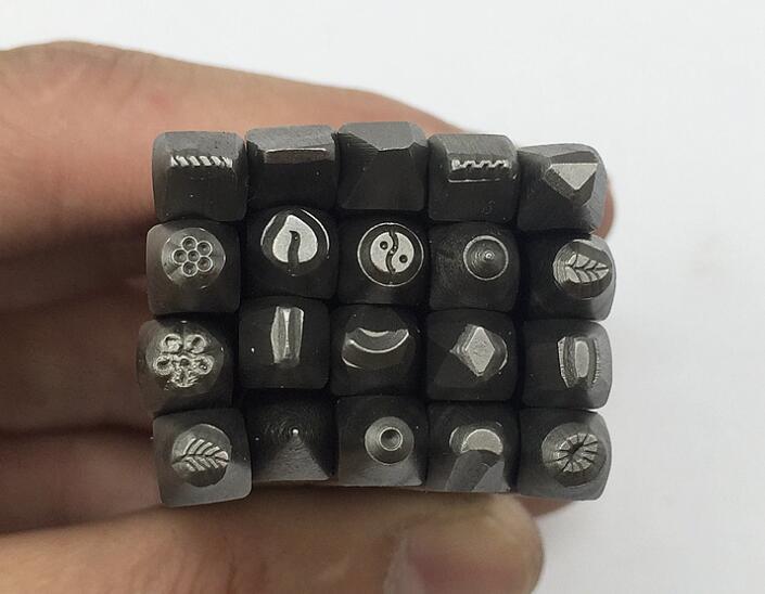 Nova chegada 20 pçs design de jóias selo aço ferramenta perfurador para miçangas & jóias fazendo metal design selos conjunto misto