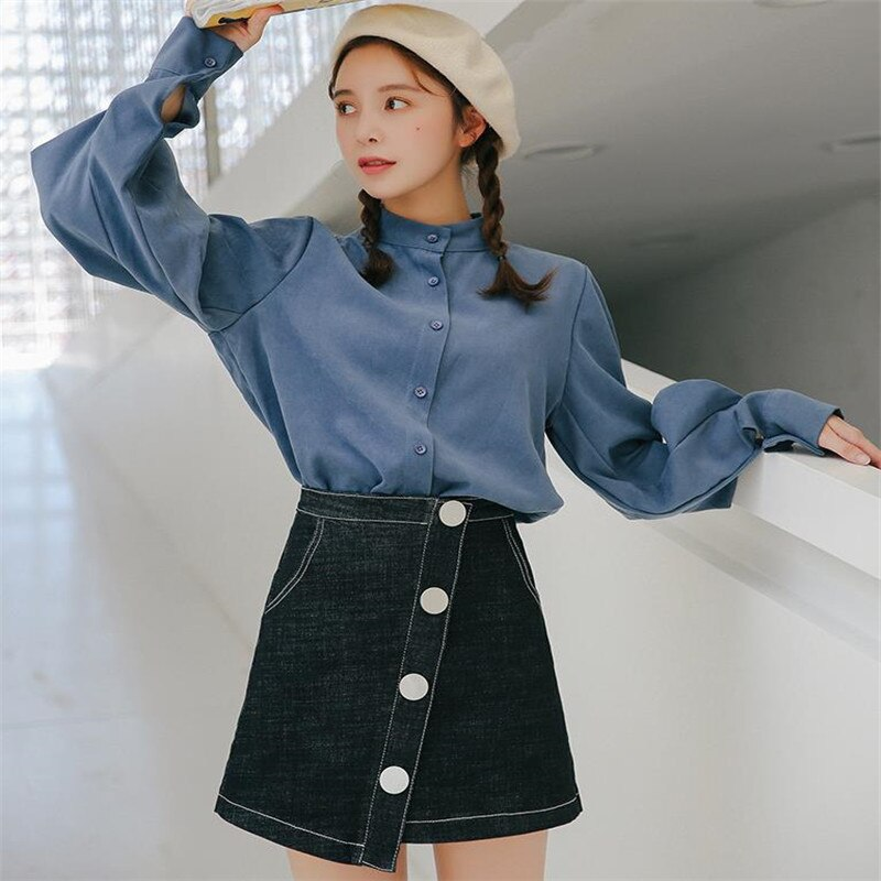 2019 summer Womens ladies A-line Pencil denim min Skirt High Waist jeans harajuku pockets Skirt black  high quality C038