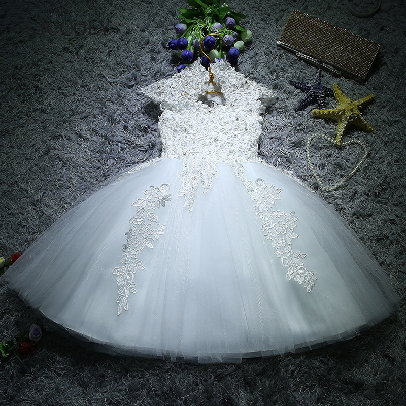 Newborn Baby Girls Baptism Christmas Dresses White Sequin Beads Lace 1 Year Birthday Dress Infant Princess Christening Dress