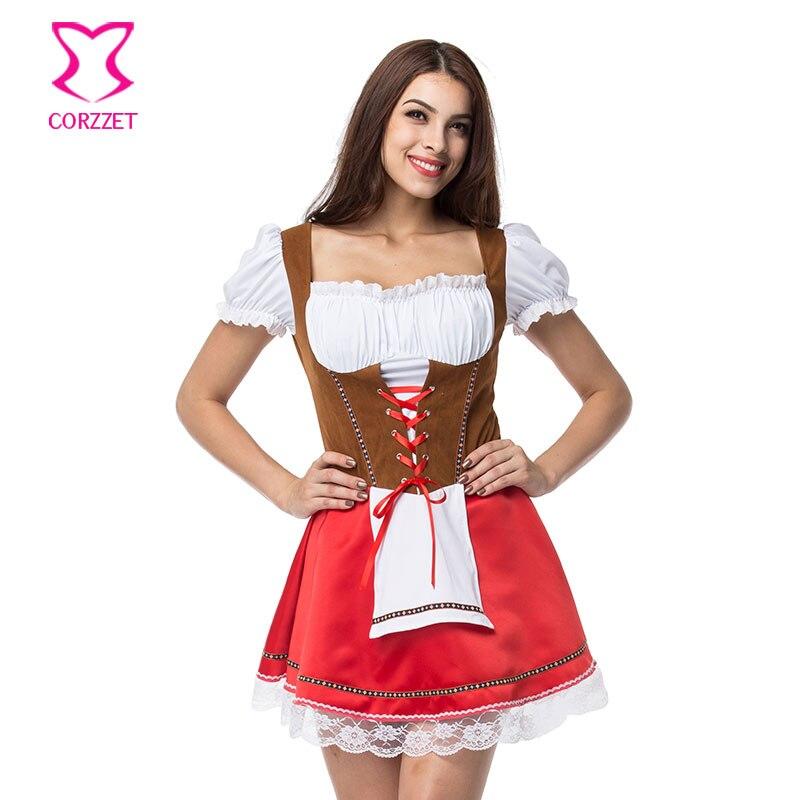 Vestido de sirvienta alemana de talla grande Cosplay cerveza chica disfraz de Oktoberfest carnaval disfraces atractivos disfraces de Halloween para mujeres
