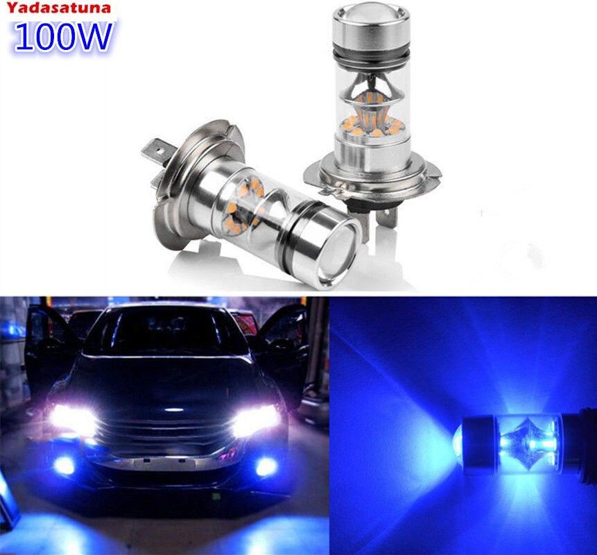 Par Ultra Blue H7 20*5W Cree Chips 100W LED bombillas de coche para conducción de luz antiniebla/luz diurna DRL( H11 9005 9006)