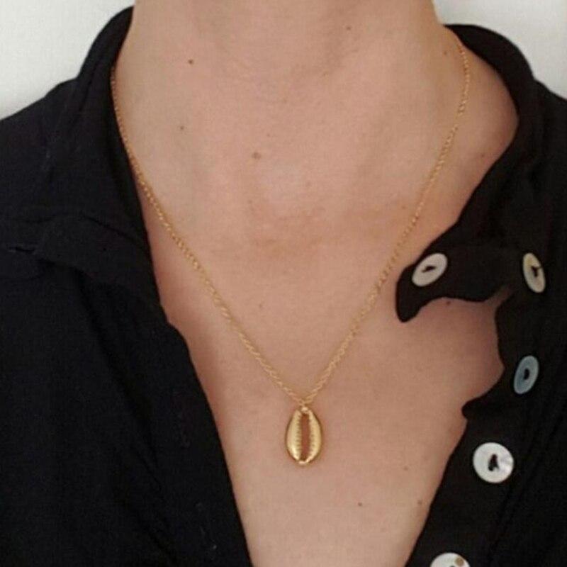 YAOLOGE 2019 nouvelle mode or couleur alliage Cowrie Shell collier pour femmes conque chaîne pendentif collier été plage bijoux