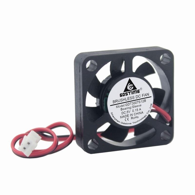 Gdstime 10 pcs 30mm x 7mm Small Cooler Fan 5V DC Brushless Mute Cooling Fan 30x30x7mm 2.0 2Pin 3cm 3007