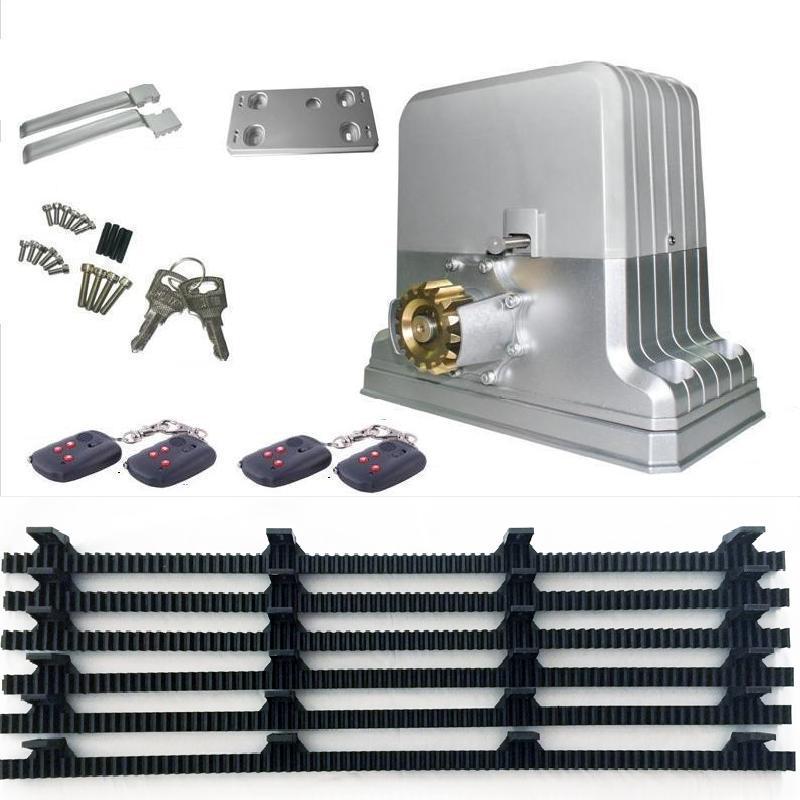 Motores de puerta corrediza eléctricos de alta resistencia 2800lbs 1500 kg/abridor automático de puerta 6m bastidores 1 sesión fotográfica (teclado GSM/RFID opcional)