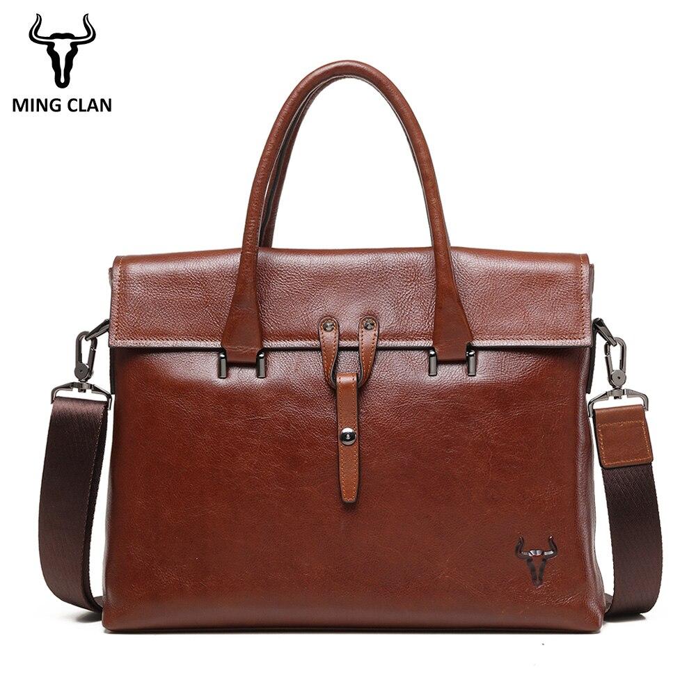 Mingclan 2018 Fashion Genuine Leather Men Briefcase Brand Shoulder Bag Messenger Bags Causal Handbag Laptop Briefcase Male