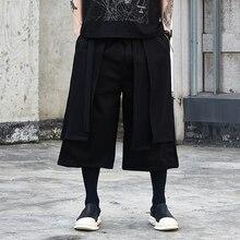 Erkek Japonya Streetwear Hip Hop Punk Gotik Düz Harem Pantolon Etek Pantolon Erkekler Sahte 2 ADET Splice Gevşek Rahat Geniş bacak Pantolon
