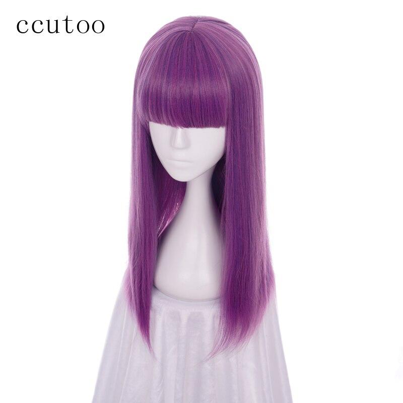 Ccutoo descendentes 2 mal 60cm mistura roxa reta plana franja peruca sintética cosplay perucas das mulheres festa de halloween