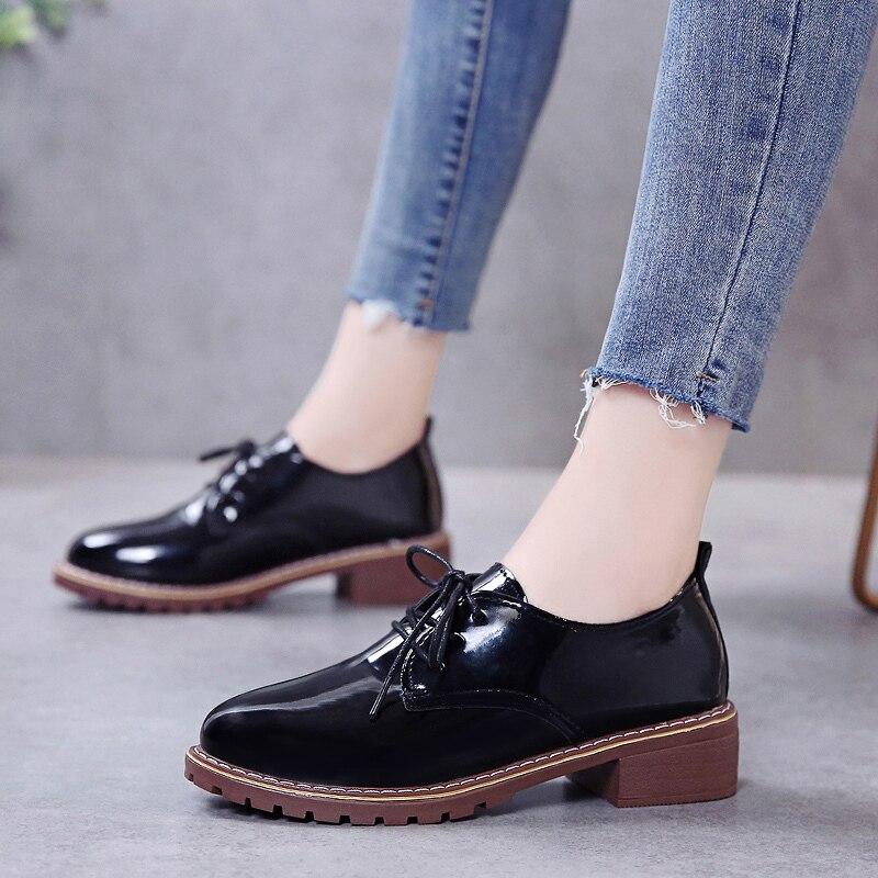 New Autumn Fashion Oxfords Women Shoes Female Pu Leather Lace Up Plus Size Casual Shoes Woman Mid Heels Platform Ladies Shoes
