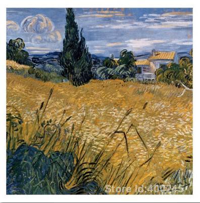Obra De arte De Vincent Van Gogh Champ De Blu Vert Avec Cypres pintura al óleo lienzo reproducción De alta calidad pintada a mano