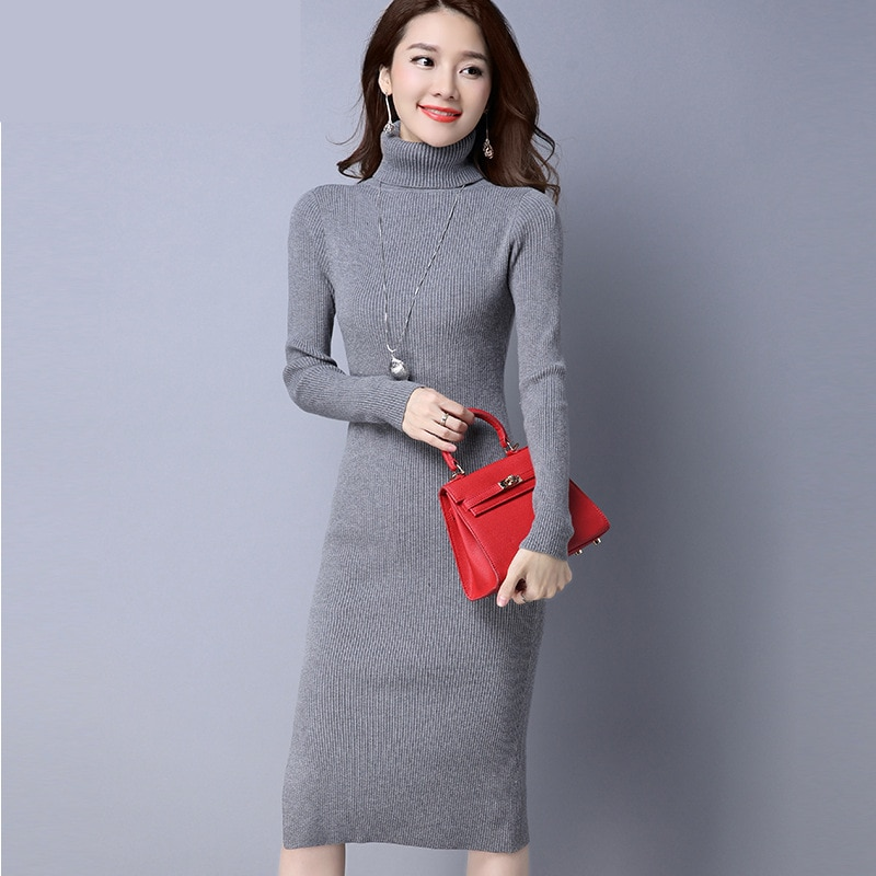 Women's Fashion Wool Knitted Turtleneck Medi Sweater for Autumn and Winter Season enlarge