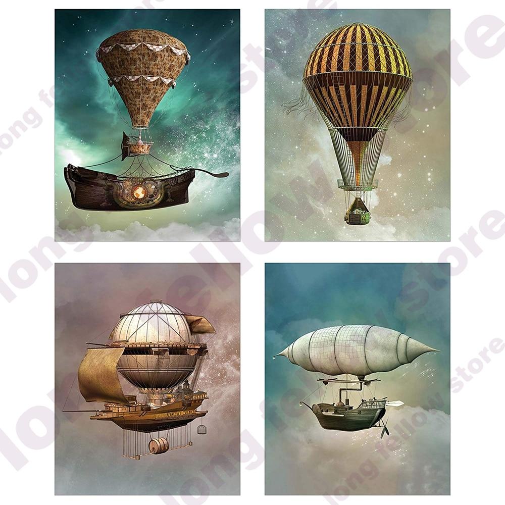 Lienzo, arte de pared, globo de aire caliente, espacio estrellado, dirigible Steampunk, póster de imagen para niños, sala de estar, decoración de guardería, envío directo
