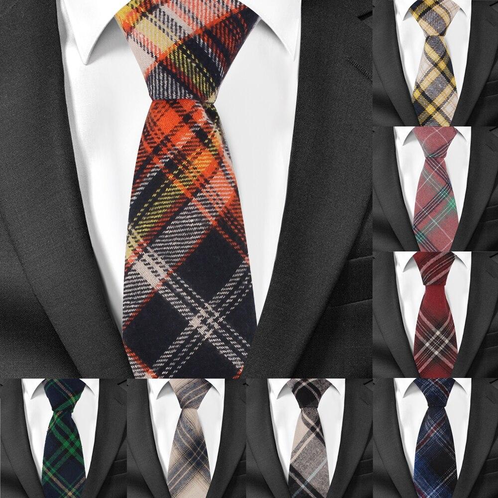 Corbatas a cuadros ajustables, corbatas ajustadas de algodón para hombre, corbatas ajustadas para hombre, corbatas para negocios de 7cm de ancho para novio