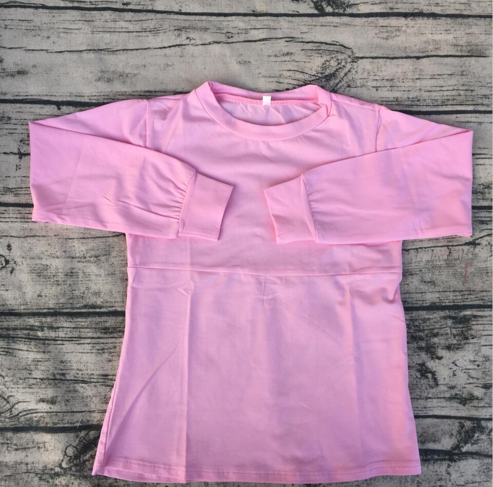 حار بيع عالية الجودة بوتيك ملابس الطفل لطيف وردي طويل الأكمام قمصان الأطفال أطفال بلون الجولة الرقبة