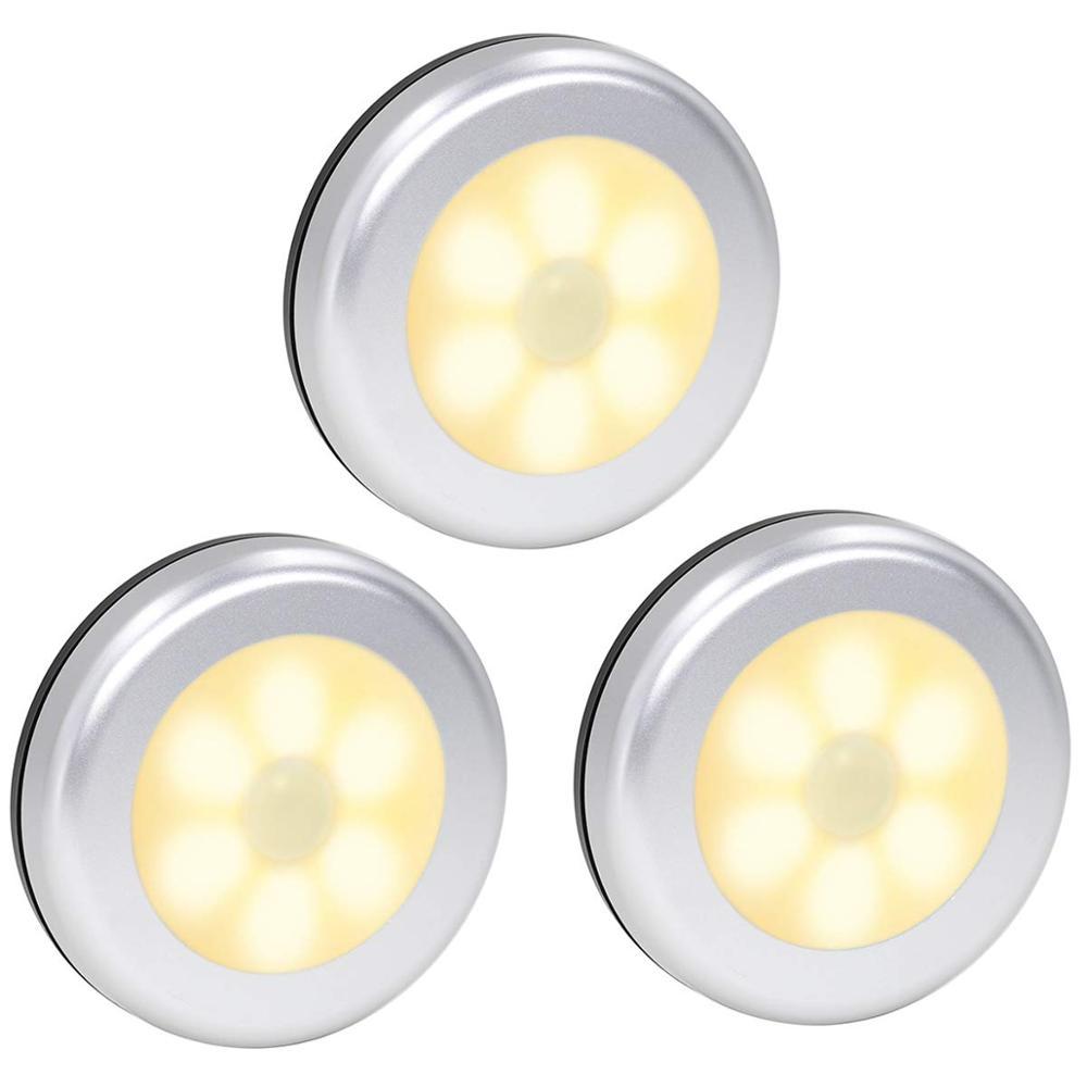 Sensor de movimiento PIR 6leds Led bajo las luces del Gabinete batería seca luz de noche inalámbrica lámpara de pared cocina escalera cálida iluminación blanca