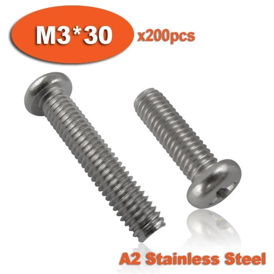 براغي فيليبس برأس مسطح ، 200 قطعة ، فولاذ مقاوم للصدأ ، DIN7985 M3 x 30 A2