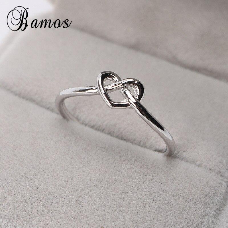 Женское кольцо с бантом Bamos Heart/Star/Infinity/Letter, простое регулируемое кольцо миди серебряного цвета