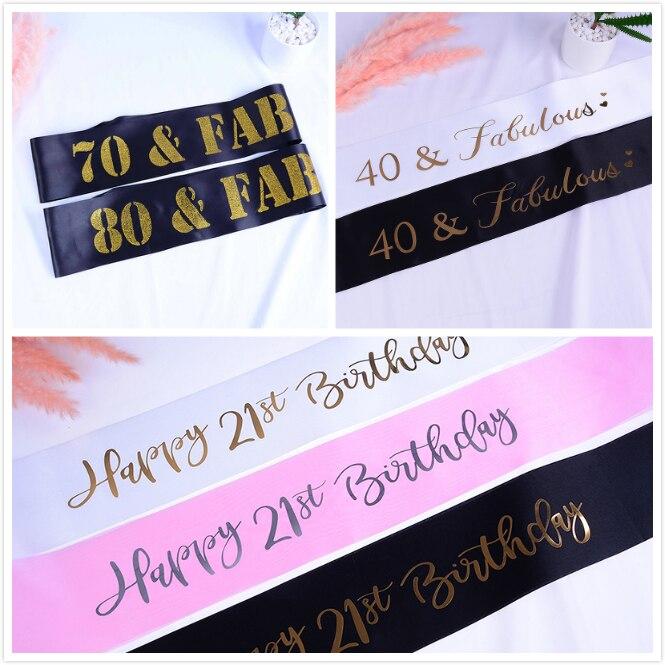 Glitter Happy 21st 40 & 70 &80 Birthday Satin Sash For Girl Women Men Birthday Party Decorations Supplies Ideas Favor Gifts