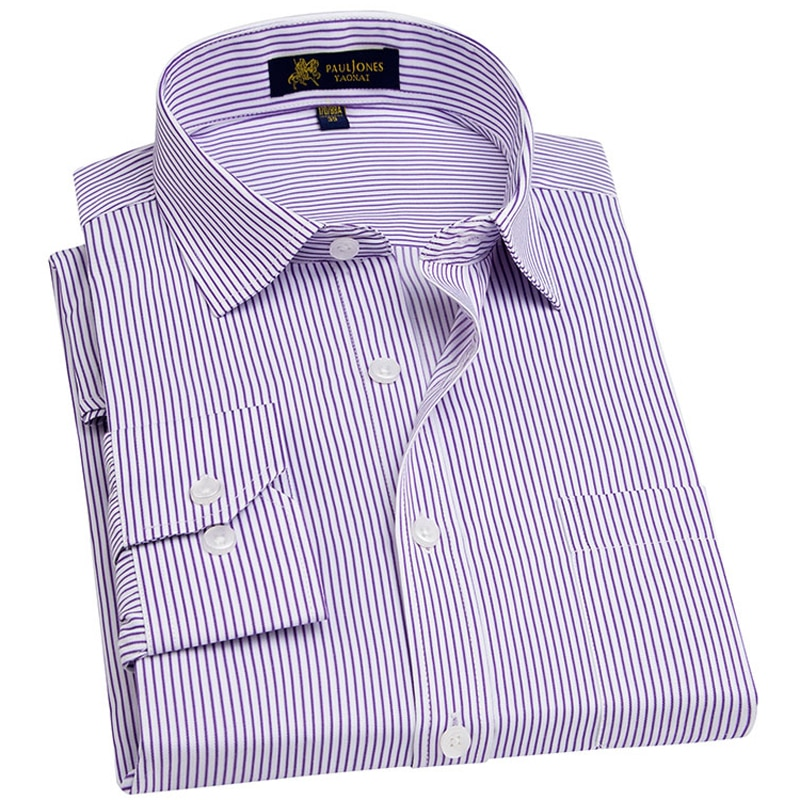 Camisa de manga larga para hombre, de corte Regular, con bolsillo en el pecho, de talla grande, a rayas, sarga, paño fino, camisas formales de trabajo para hombre