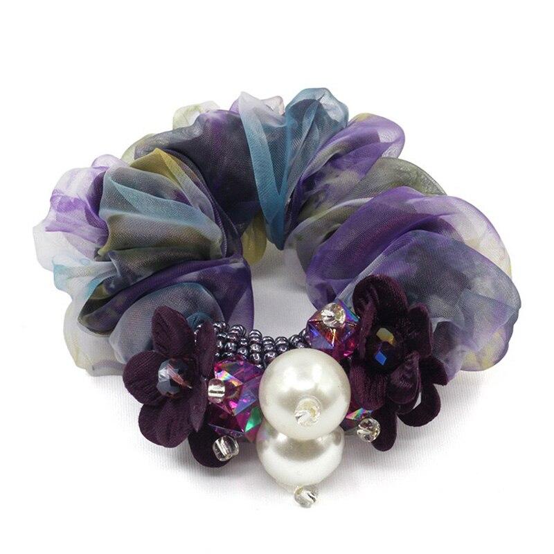 1 pieza de accesorios para el cabello para niñas y mujeres de gasa cuerda para el cabello diademas súper elásticas rosa con perla y cola de caballo de cristal scrunchie