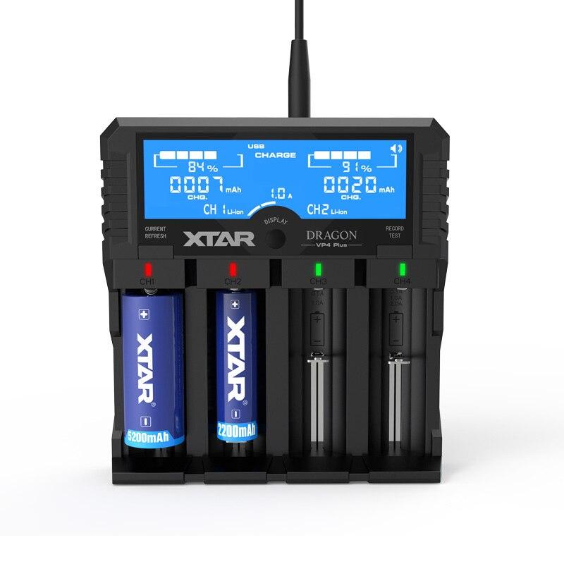 Original novo dragão xtar vp4 plus carregador de bateria inteligente com bolsa sondas adaptador e carregador de carro para 18650 e bateria